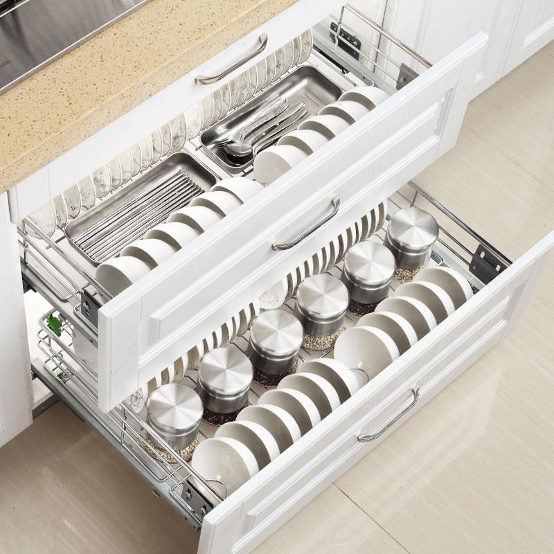 不锈钢双层缓冲厨柜抽屉式碗架调味碗碟篮 304 帝米尼拉篮厨房橱柜