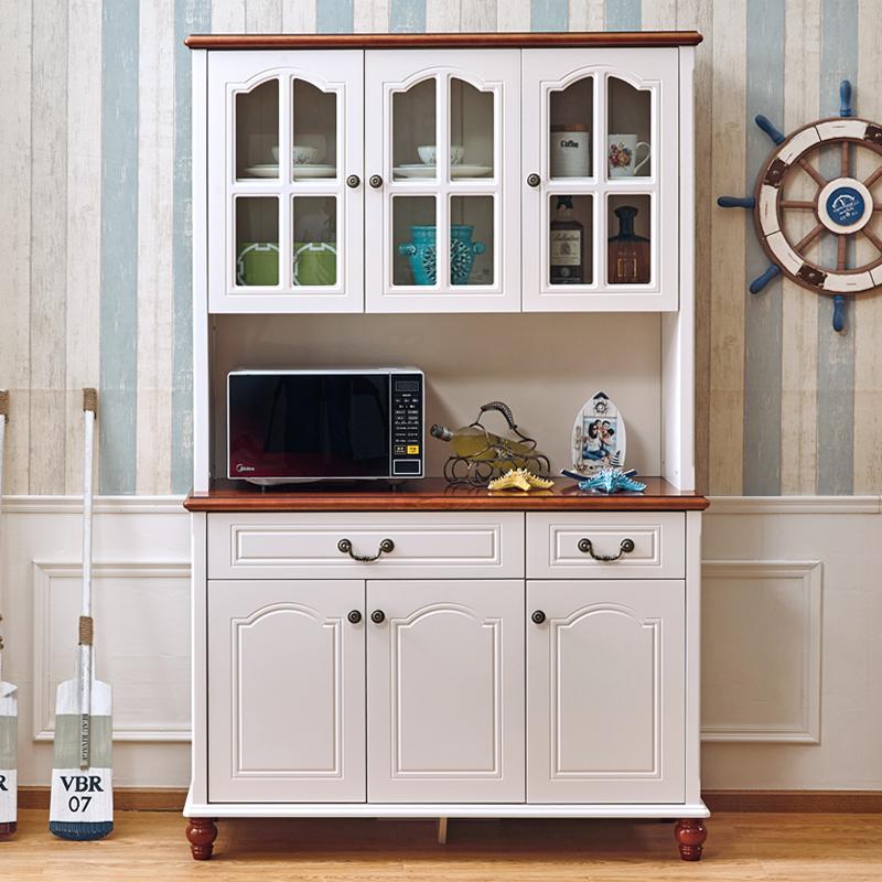 亮巢美式田园实木餐边柜酒柜现代简约储物柜地中海茶水柜白色碗柜