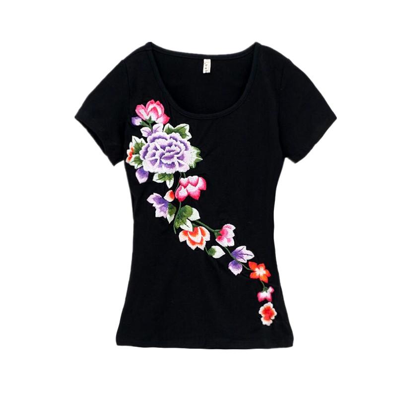 加大码上衣中国风刺绣 恤女 T 棉夏装新款绣花短袖修身 95 民族风女装