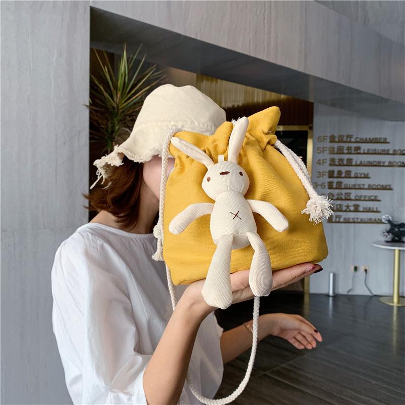 包包女包2019新款韓國流行單肩包ins風超火可愛水桶斜挎女帆布包