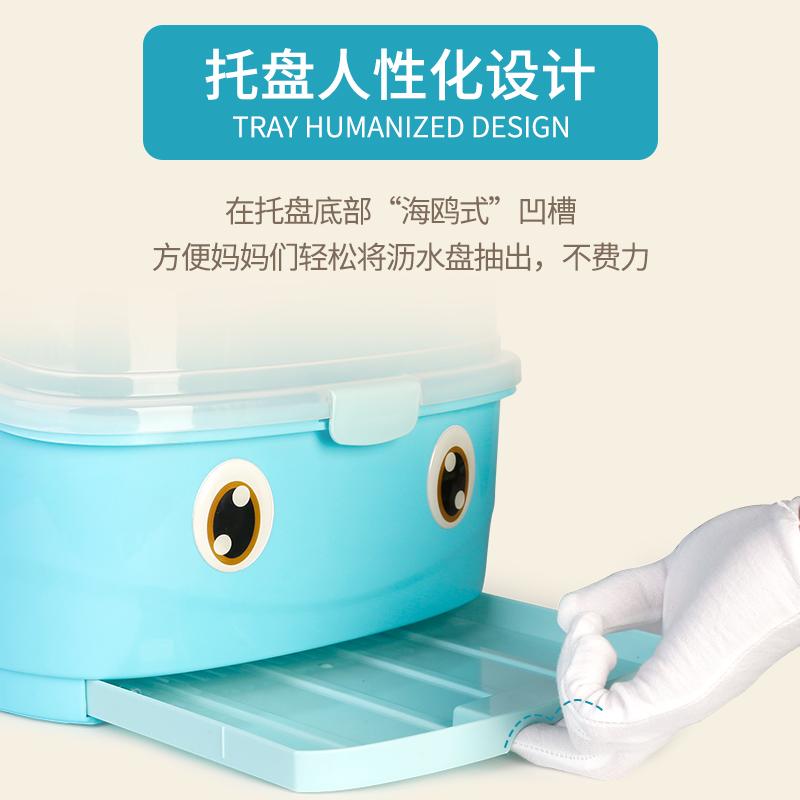 宝宝奶瓶收纳箱婴儿童奶瓶沥水架餐具晾干燥大号储物盒带盖防尘箱