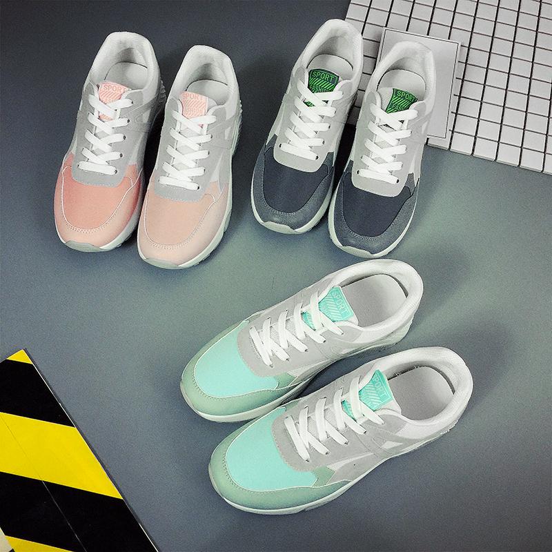 春季新款跑步鞋女鞋轻便舒适运动鞋透气系带百搭休闲鞋ins