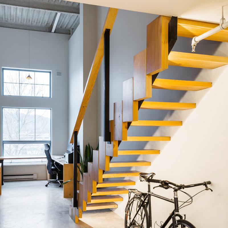 旋转楼梯厂家定制 loft 双梁楼梯悬浮阁楼室内实木复式钢木楼梯跃层