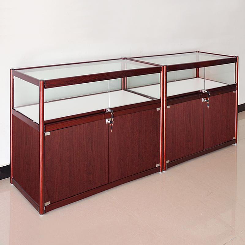 欣雪木纹色珠宝展示柜精品工艺品古玩收藏品陈列柜展示架玻璃柜子