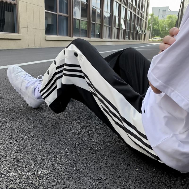 秋季裤子男港风条纹排扣直筒运动裤韩版潮流宽松百搭阔腿休闲长裤