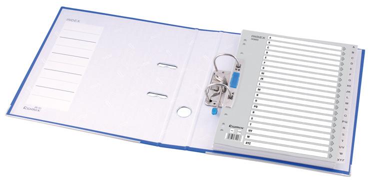齐心 分页纸 索引纸 英文字母20页分类纸IX900灰色11孔塑料隔页纸