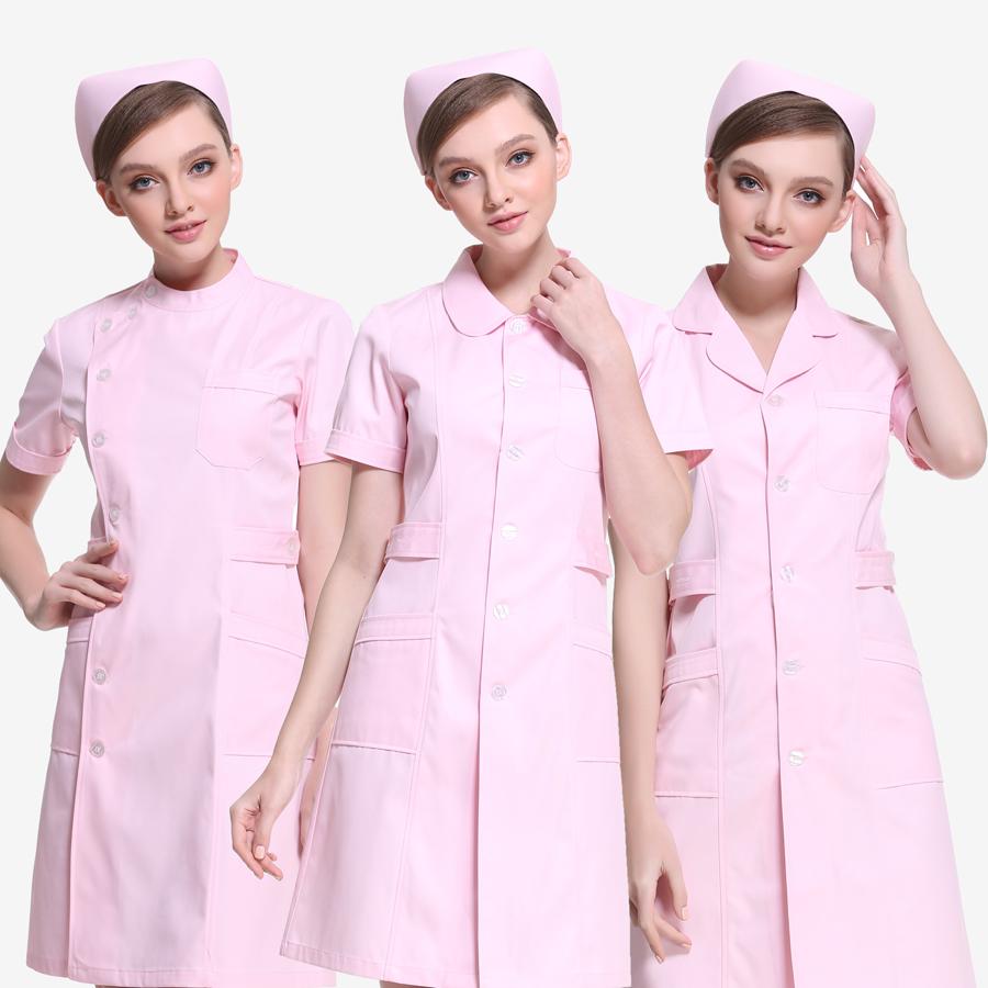 护士服长袖女冬装短袖粉色白大褂衣服装两件套美容院师制服工作服