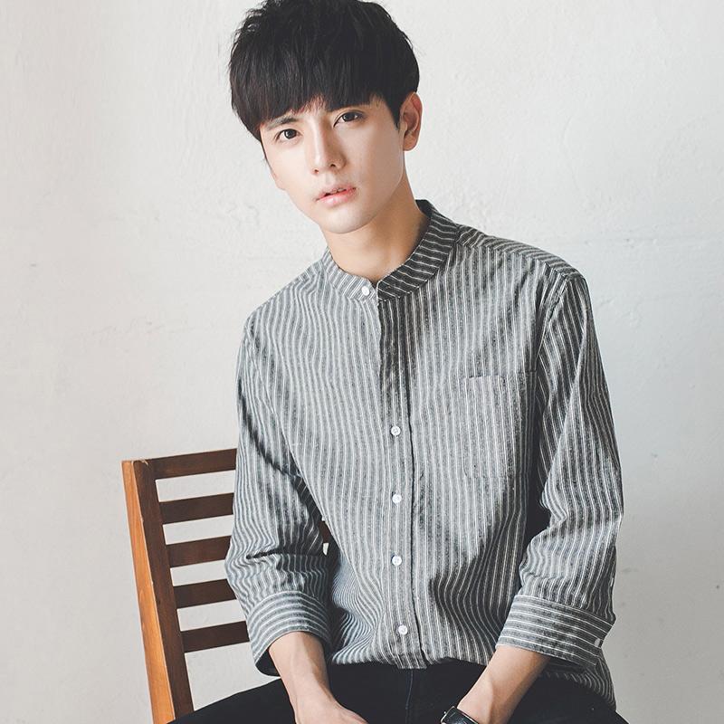 夏季学生韩版修身竖条纹7七分袖白衬衫潮流痞短袖衬衣服男寸帅气