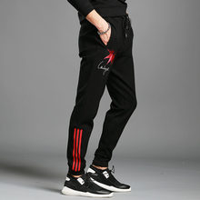 Autumn and winter plus velvet pants men's spirit guy casual pants trend printing embroidery elastic waist drawstring pants sports pants