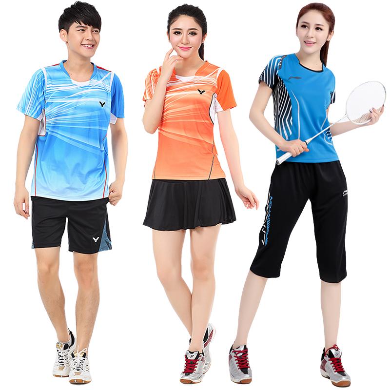 胜利羽毛球比赛服套装男 运动衣服速干情侣款 女款上衣裙裤