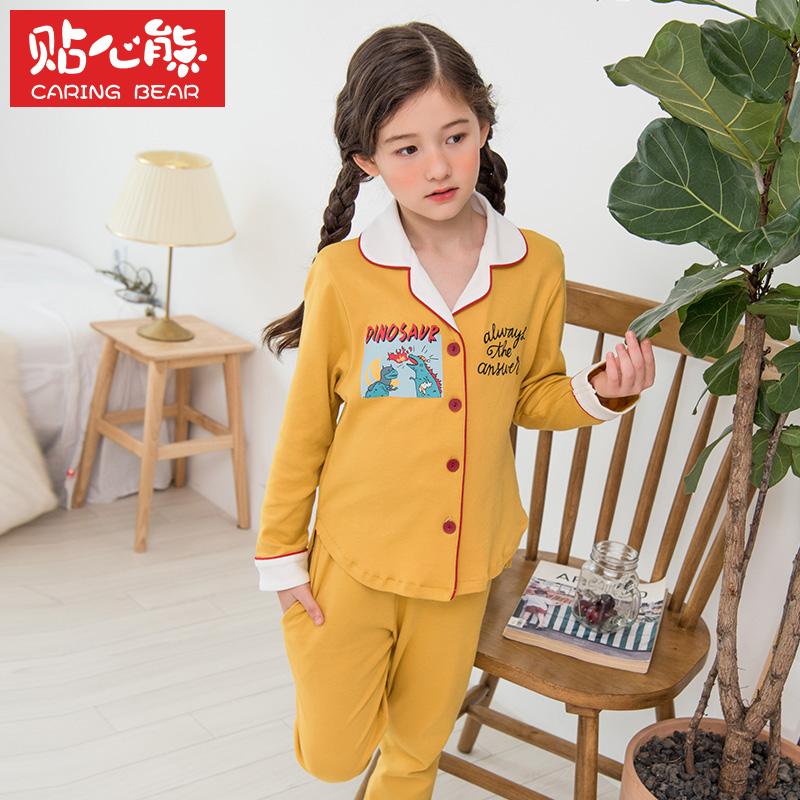 春秋季兒童睡衣長袖薄款女童純棉寶寶小孩親子母女家居服套裝秋冬