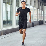 Running sports suit male summer night running equipment gym sweat-absorbent quick-drying loose morning running training fitness clothes