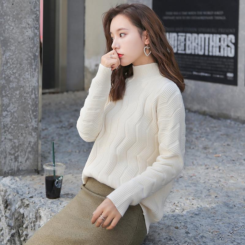 2018秋冬季新款慵懒风毛衣女宽松高领韩版麻花套头长袖毛线针织衫