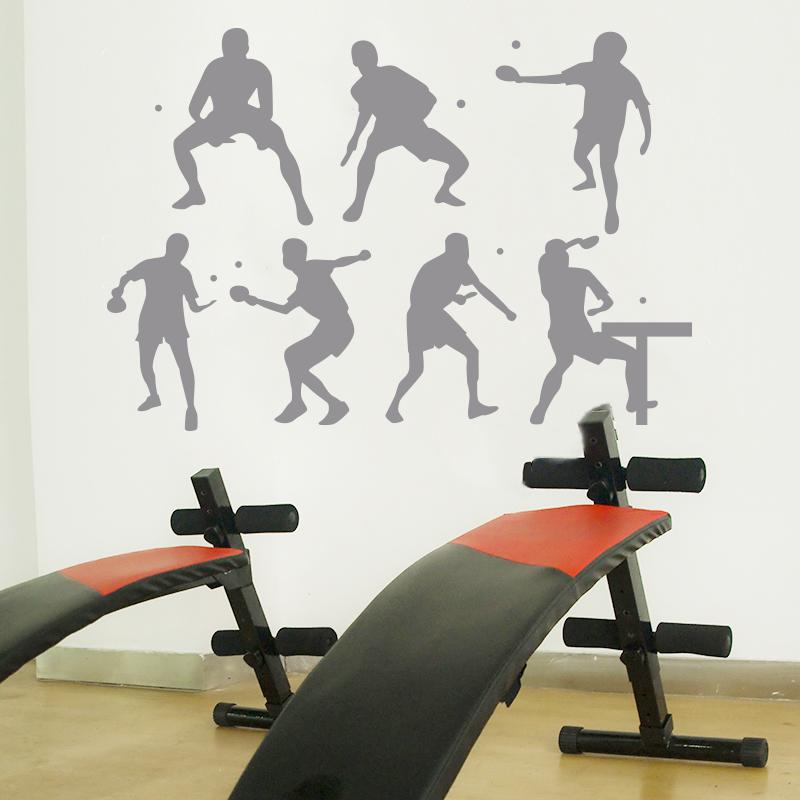 創意健身房活動室體育乒乓球運動館墻貼畫人物剪影裝飾品墻壁貼紙