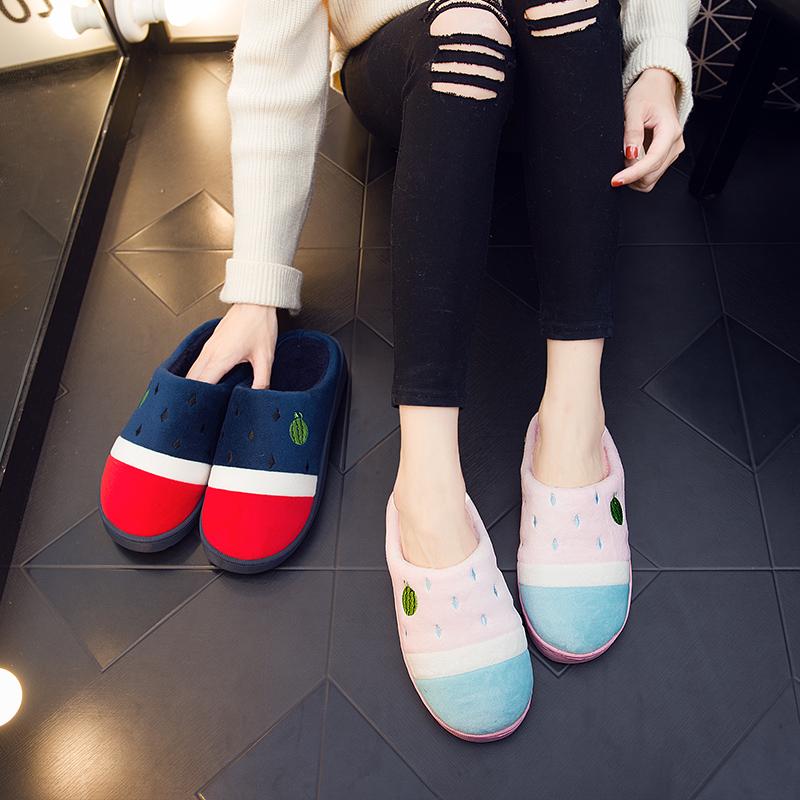 棉拖鞋女家用冬季2019新款包跟室内情侣可爱家居防滑毛拖鞋男秋冬