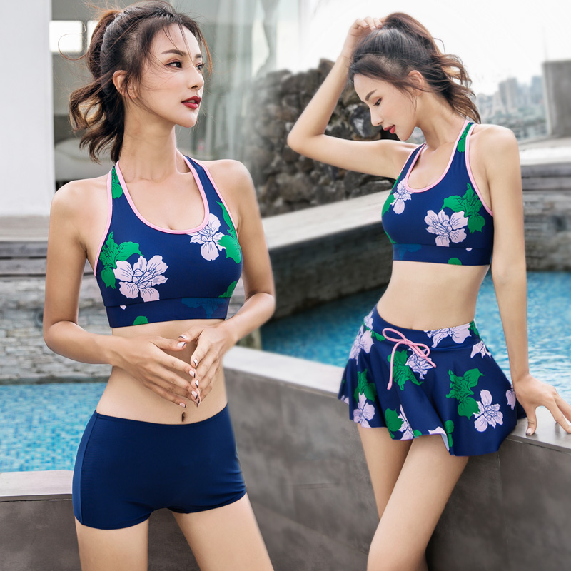 泳衣女三件套保守分体裙式显瘦遮肚韩国温泉小香风胸比基尼游泳装