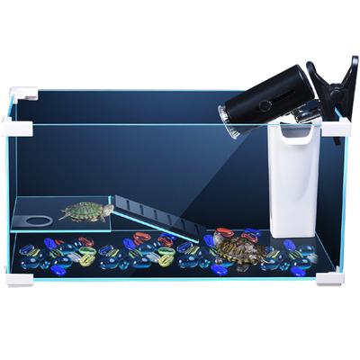 鱼缸玻璃乌龟缸水陆缸家用带晒台别墅大型小型养乌龟专用缸乌龟池 - 图0