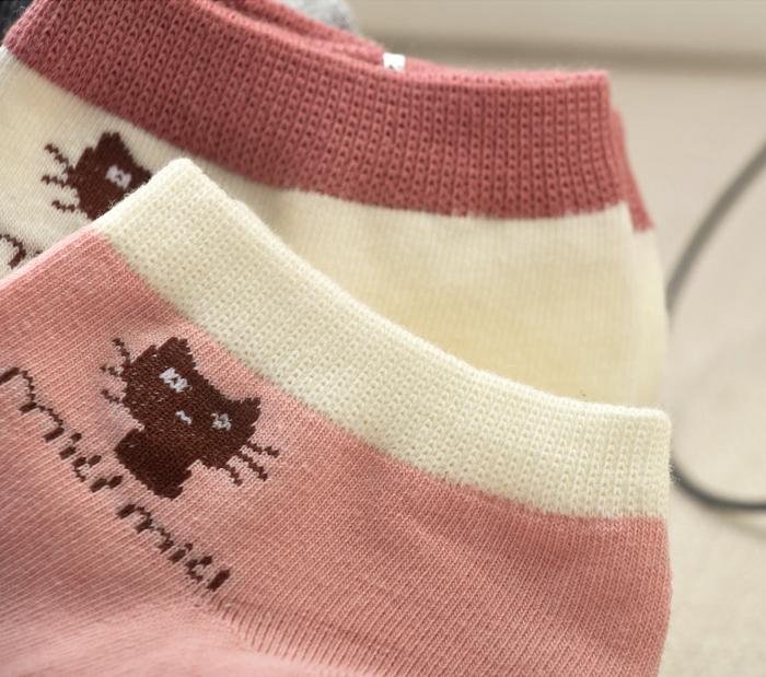 3双日系小猫船袜女袜子夏季短袜浅口防臭吸汗透气可爱单鞋运动