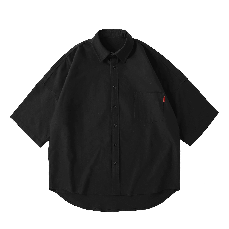 衬衫 短袖 五分袖 牛津纺 纯棉 oversize ピュア周年纪念 Pure