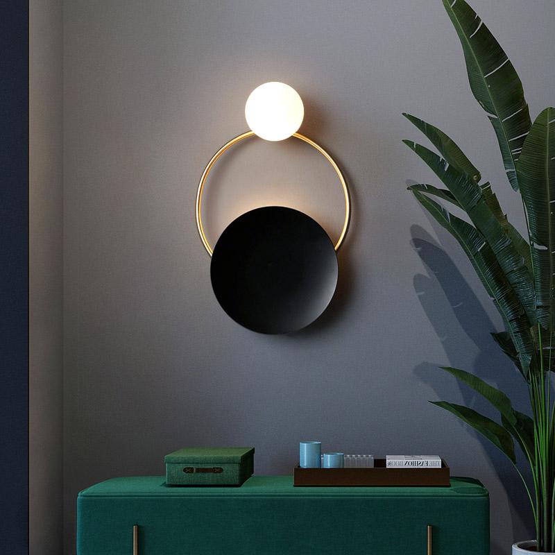 床头壁灯现代简约创意客厅背景墙过道走廊楼梯阳台圆形卧室壁灯具