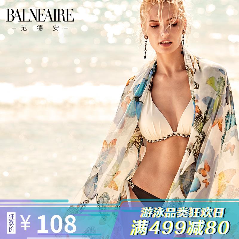 範德安蝴蝶性感比基尼泳衣罩衫 裹裙沙灘巾披紗 海灘度假防晒披肩