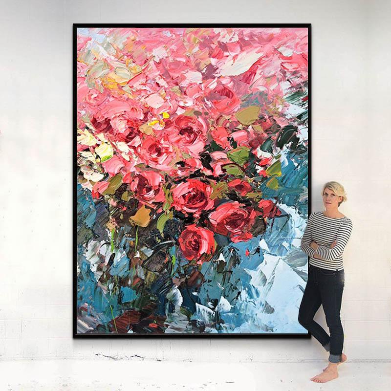 手绘油画定制北欧玄关装饰画客厅走廊进门红色挂画玫瑰花大气壁画