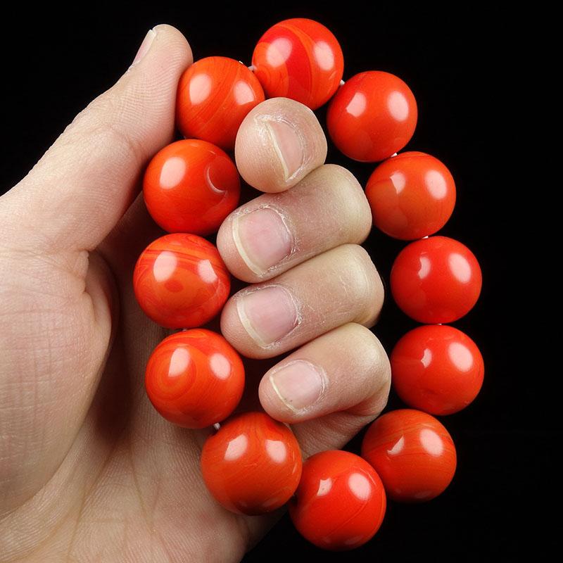 和田玉圆珠手链手串男女款南红玛瑙佛珠手链本命年生日礼物玉手串