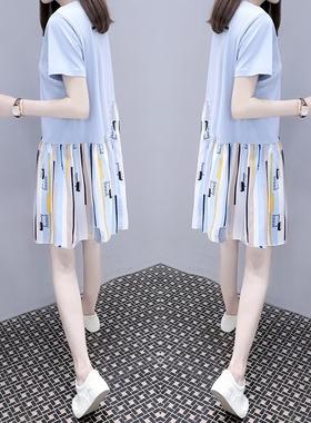 欧洲站2021夏季新款女装宽松大码中长款条纹拼接娃娃a字连衣裙潮