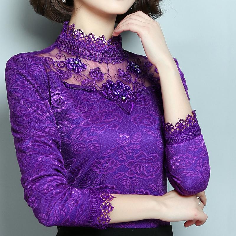 恤女装大码上衣冬季蕾丝打底衫 t 保暖衣服女加厚加绒新款韩版长袖