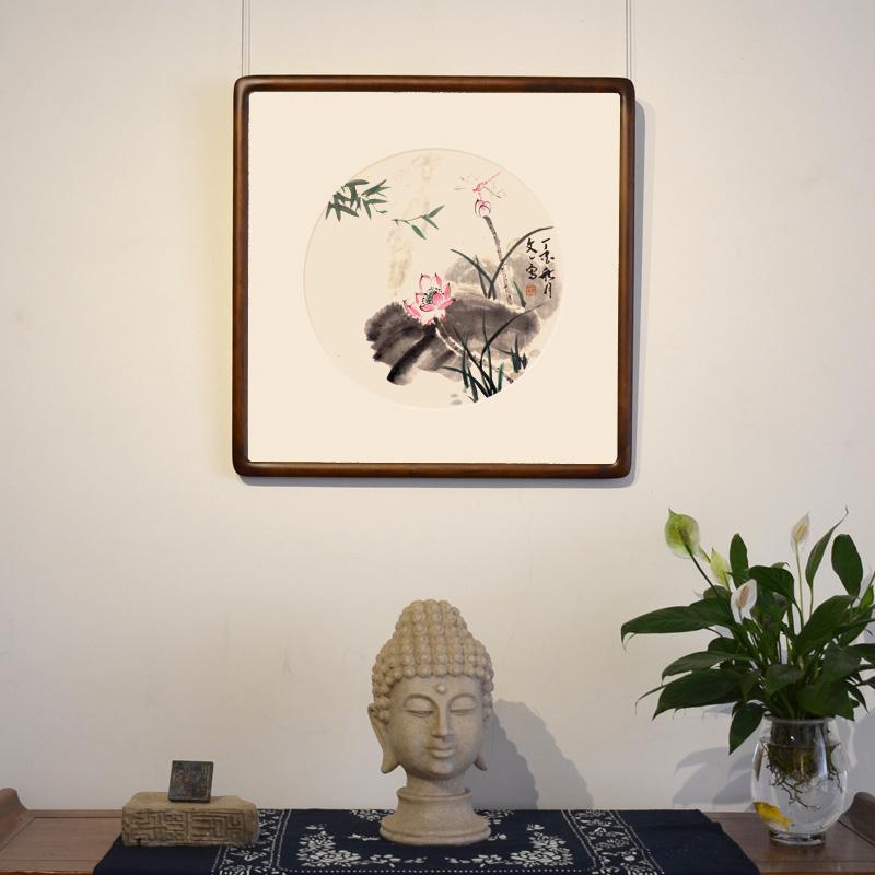 付文一手繪真跡國畫花鳥臥室書房客廳中式古典裝飾掛畫帶框裝裱