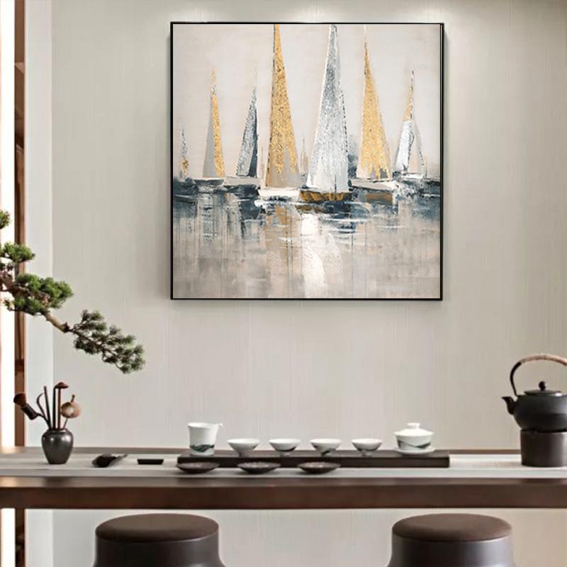 手绘抽象油画现代简约帆船风景挂画客厅办公室玄关餐厅装饰画壁画