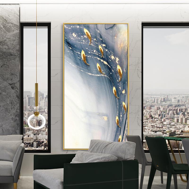 手绘抽象金线油画艺术实物九鱼图装饰画现代客厅玄关餐厅背景挂画