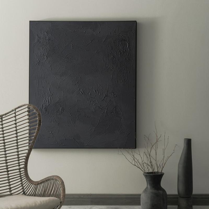 手绘抽象纯色厚肌理油画装饰画现代简约客厅玄关走廊挂画黑白壁画
