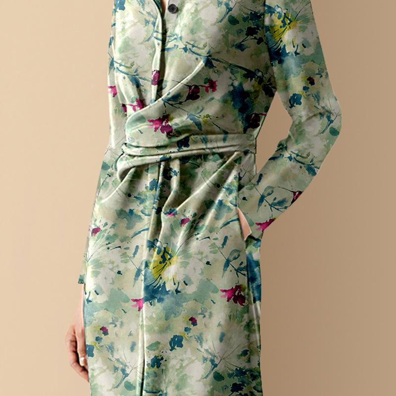 迪菲丽格秋季女装2021新款气质复古印花连衣裙POLO领收腰衬衫裙子