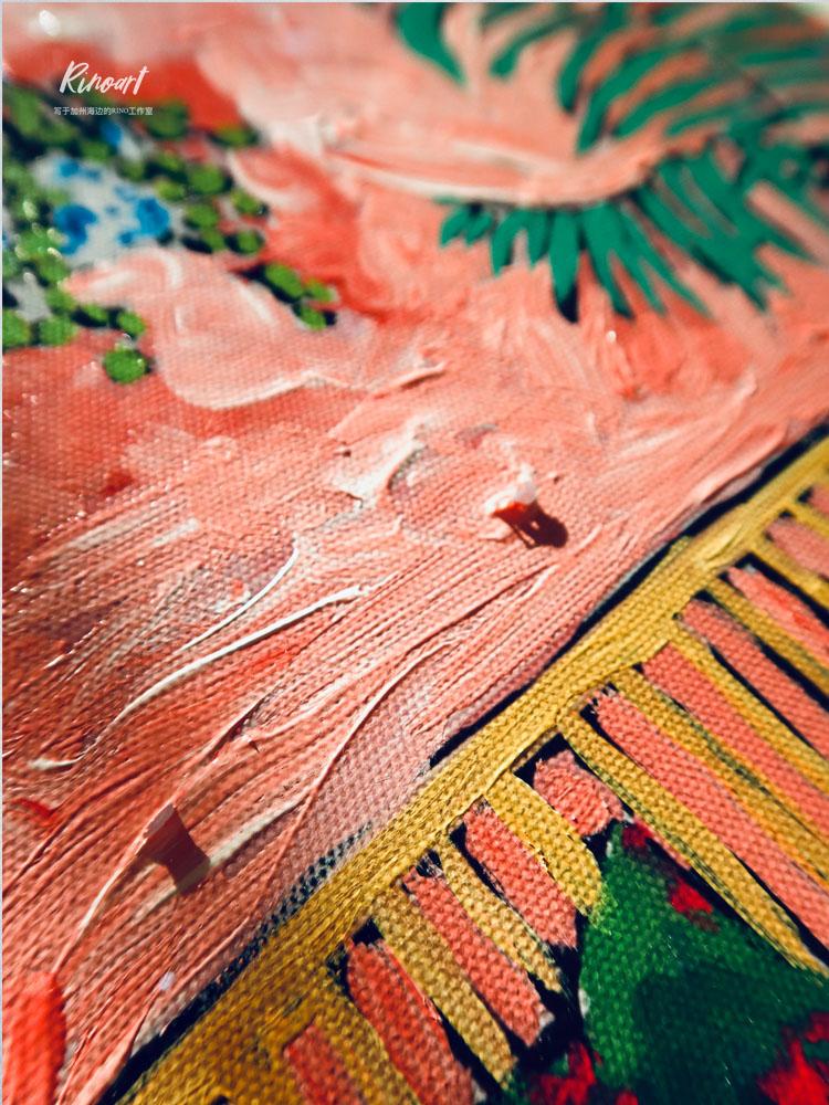 犀牛艺廊竹节金框美国纯手绘Lara Meintjes南非风油画粉色天堂