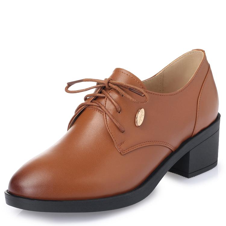 粗跟单鞋女2019新款皮鞋春秋系带深口真皮女鞋软底中跟大码工作鞋