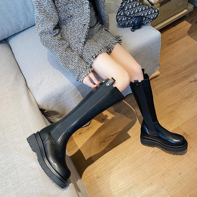 大码女靴41一43烟筒靴女高筒靴胖mm粗腿马丁靴大筒围骑士长筒靴子