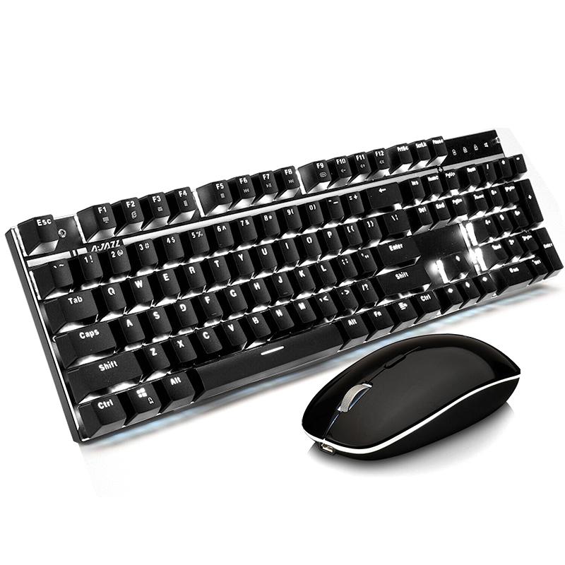 无线机械键鼠套装 2.4G 电脑笔记台式本办公家用 Mac 苹果 无线机械键盘鼠标套装青轴黑轴游戏充电 a3008 黑爵