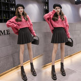 Pleated skirt female autumn and winter skirt high waist skirt 2019 new short skirt college large size woolen skirt a word pants skirt
