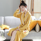 Autumn gown female long-sleeved long section lace girl sweet and cute Japanese pajamas spring and autumn Korean version of sexy bathrobe