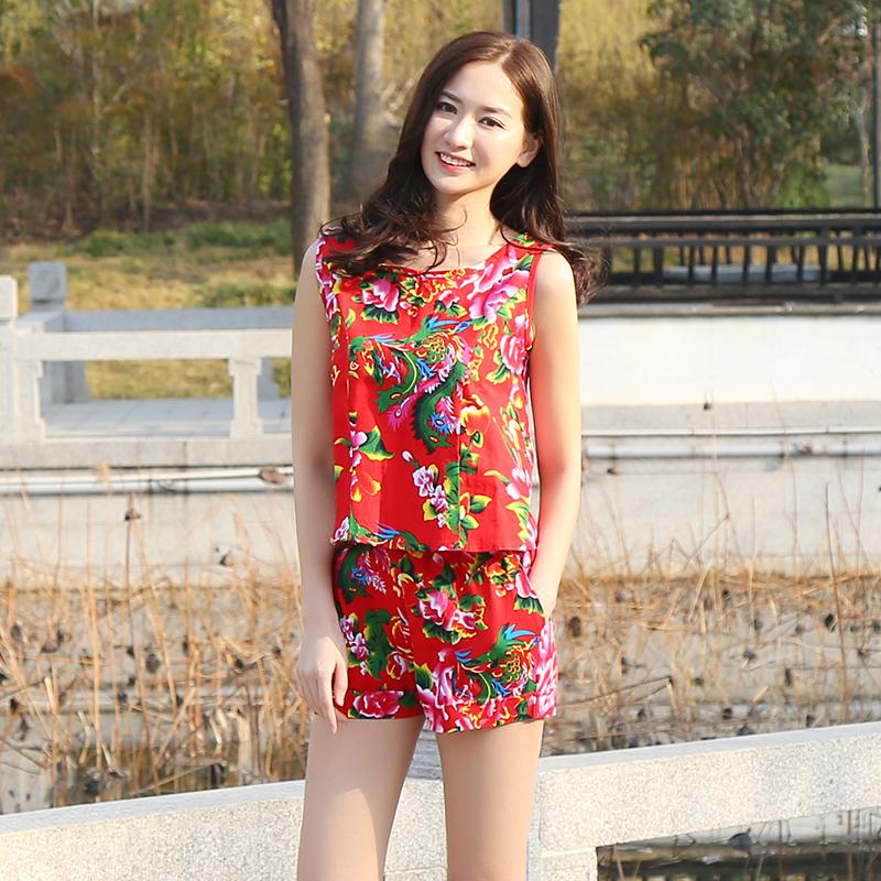 民族风女装女新款夏季复古大码女装红色运动花色棉短裤女休闲套装