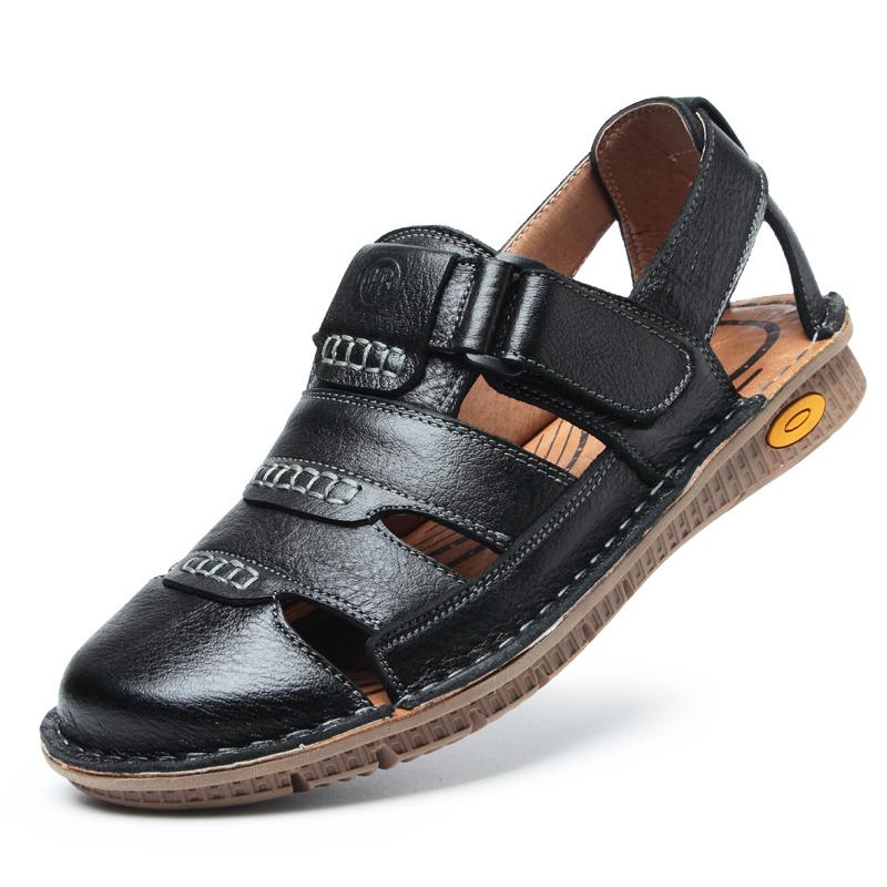 男士凉鞋男真皮夏季沙滩鞋包头软底防滑中老年爸爸鞋牛皮凉鞋子男