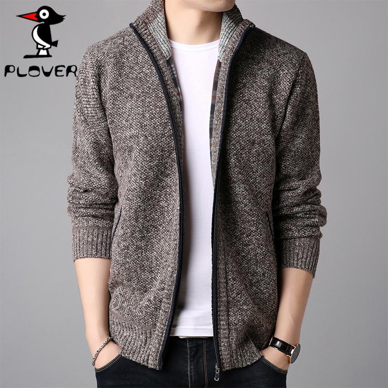 啄木鸟男式夹克男开衫 青年立领针织打底衫外套纯色毛衣秋季男装