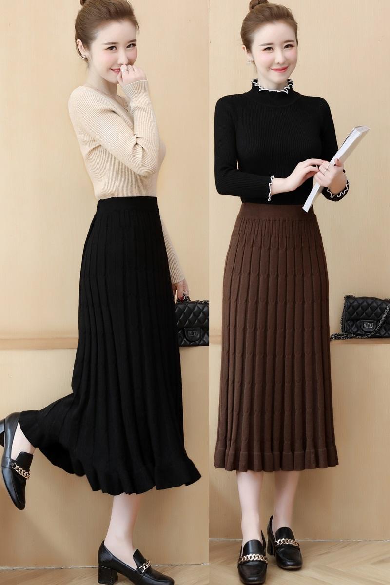 黑色针织半身裙女秋冬季2019新款包臀高腰中长款百搭显瘦一步裙子