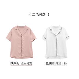 2019新款女装夏季v领短袖粉色衬衫宽松休闲复古气质清新雪纺上衣