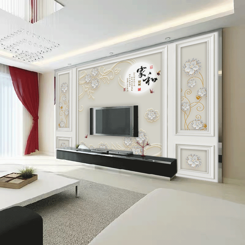家和影視墻壁布 8D 立體客廳墻紙壁畫 5D 電視背景墻壁紙圖案自帶邊框