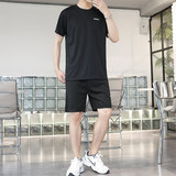 Summer round neck short-sleeved t-shirt male fitness quick-drying large size two-piece men's outdoor running shorts suit
