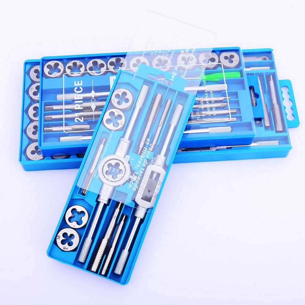 上匠五金 高精度丝锥板牙套装 攻丝组套 公制丝攻板牙铰手刃具