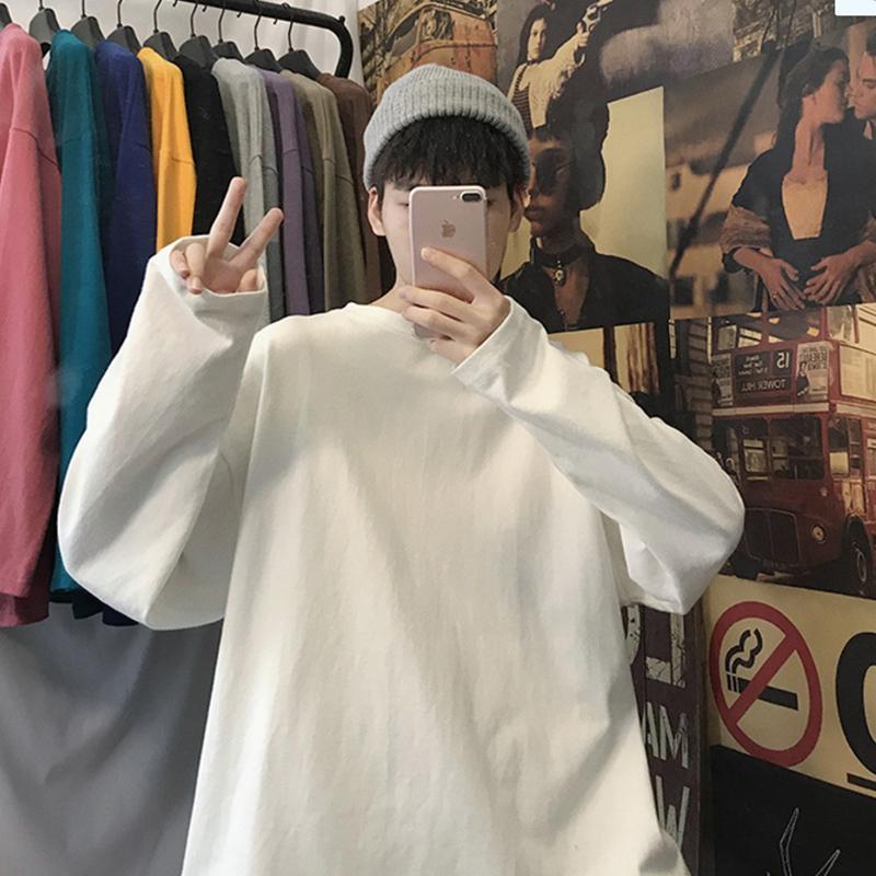 长袖T恤男宽松潮流纯色打底衫春季内搭衣服男装休闲上衣圆领卫衣