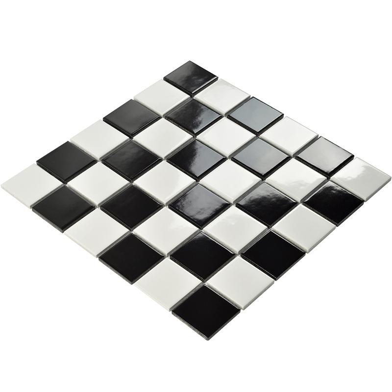 卫生间厕所马赛克瓷砖电视背景墙黑白棋盘浴室防滑地砖厨房墙面砖